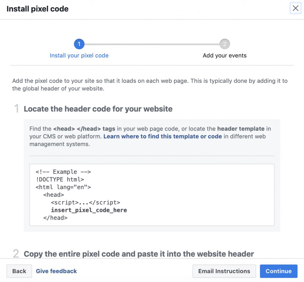 Facebook pixel installation code.