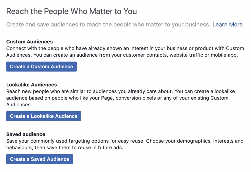 Creating a custom audience in Facebook.