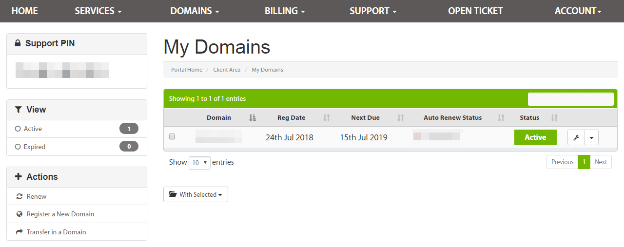 The My Domains section in the A2 Hosting customer portal.