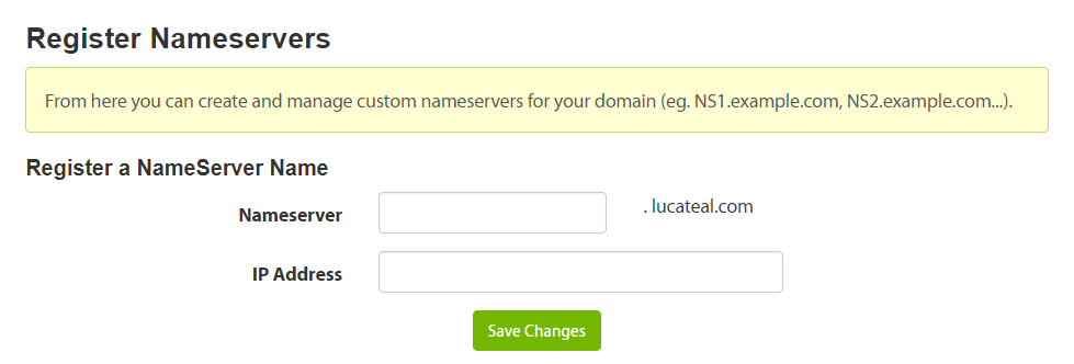 Registering a new nameserver.