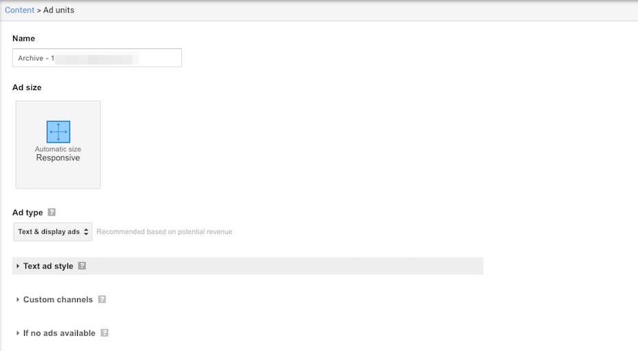 Choosing ad settings for an AdSense ad.