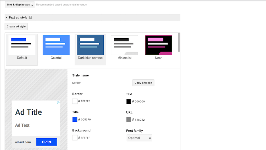 Choosing ad colors and sizes.