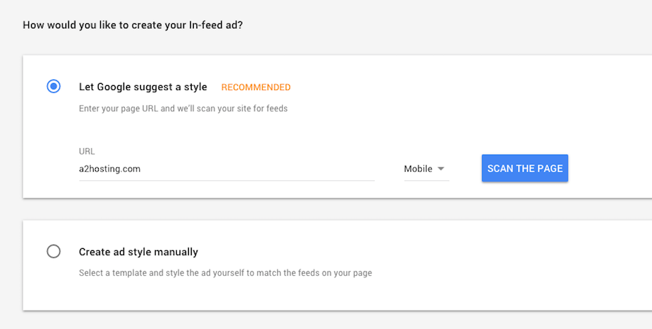 Letting Google suggest an ad style.