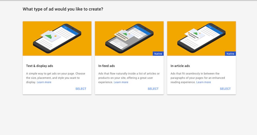 Choosing a Google AdSense ad type.