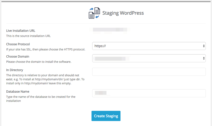 Installing a WordPress staging site.