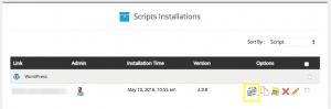 A WordPress installation in cPanel.