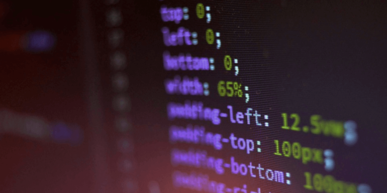 CSS code on a monitor.