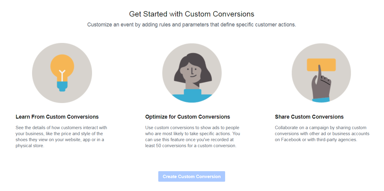 Creating custom conversions on Facebook.