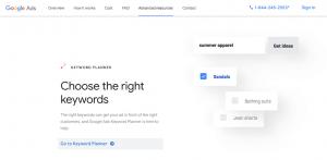 The Google Keyword Planner website.