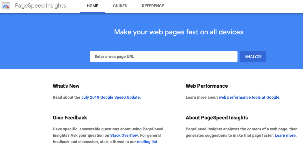 The PageSpeed Insights website.