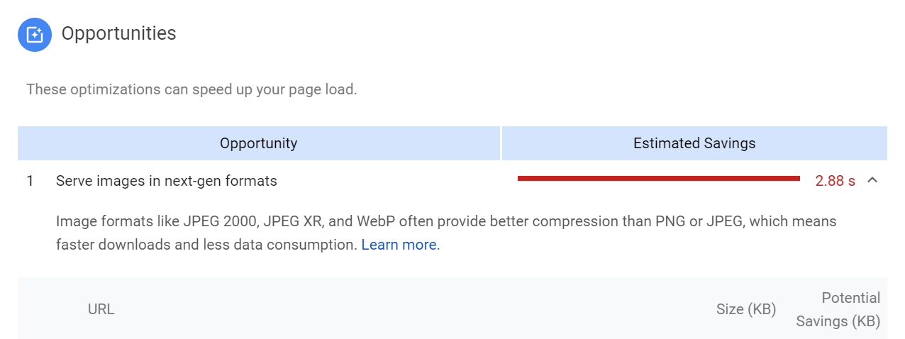 "A PageSpeed opportunities ""Learn more"" option."