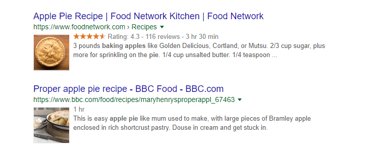 A Google search for apple pie recipies.