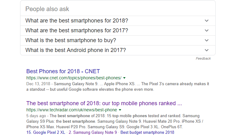 A Google search for the best smartphones.