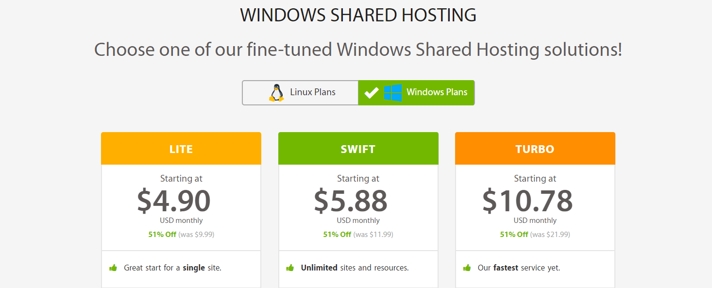 Windows Shared hosting plans.