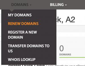 The renew domains menu.