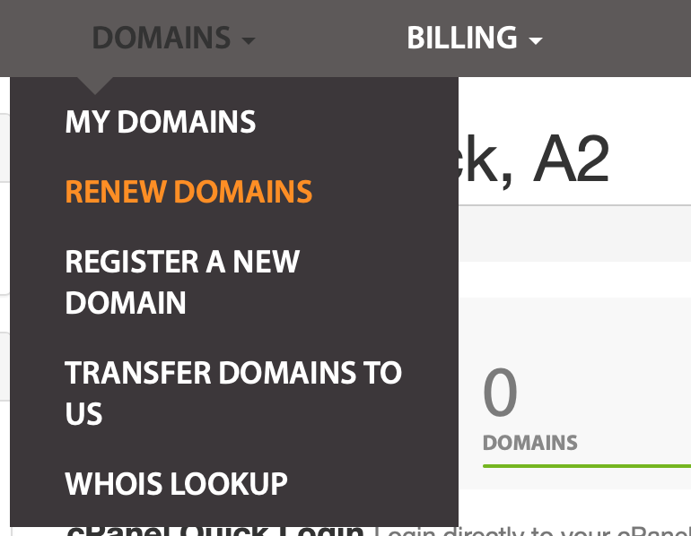 The Renew Domains menu.