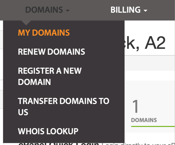 The My Domains menu.