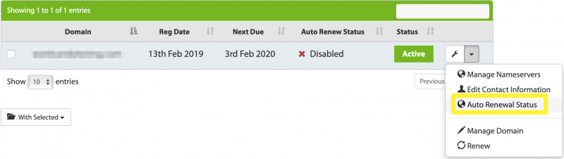 The My Domains page, highlighting where to select the Auto Renewal Status option.