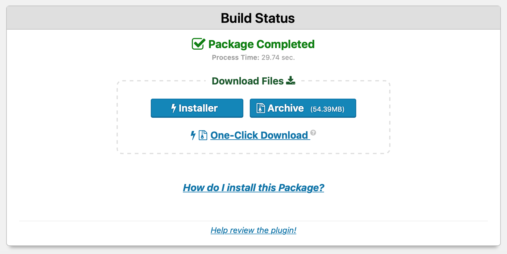 Downloading a Duplicator package.