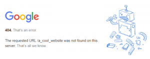 A 404 error in Google.