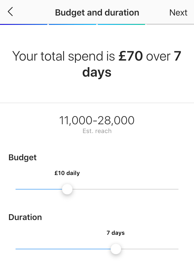 Setting up your ad budget and duration.