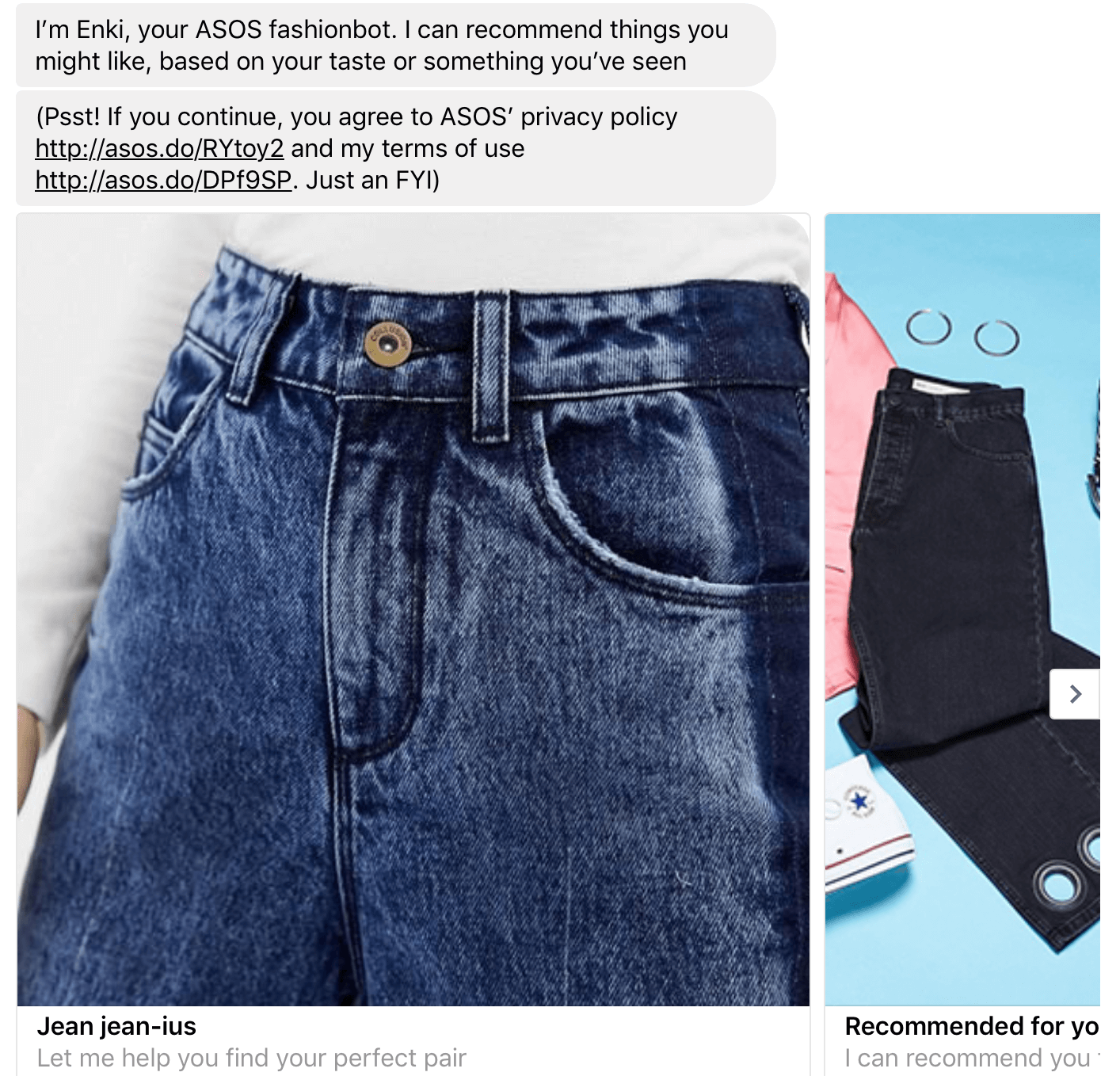 The ASOS chatbot.