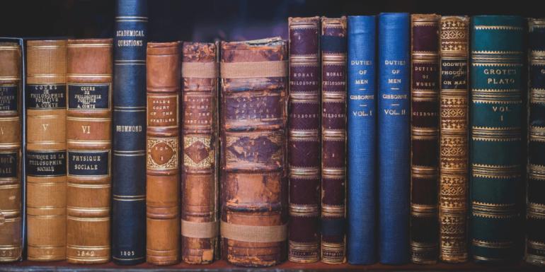 A shelf full of books.