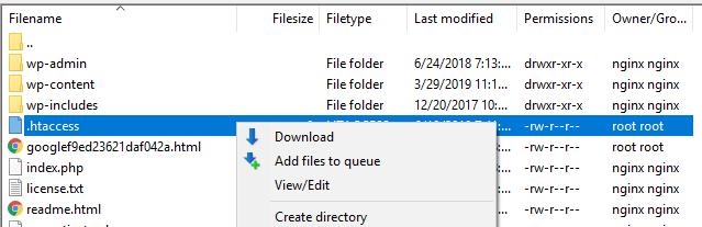 Editing the .htaccess file.