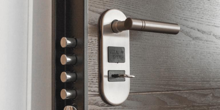 A security lock on a door.