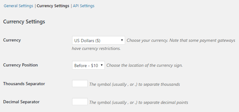 The Currency Settings page.