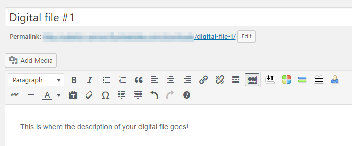 Adding a description for your digital file.
