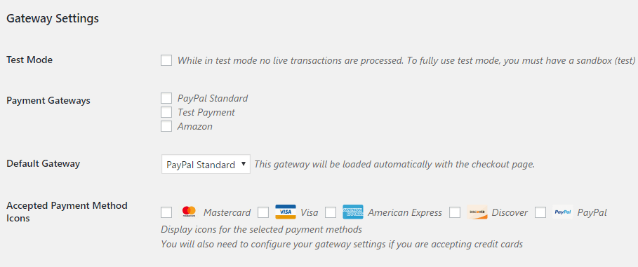 The Payment Gateways tab.