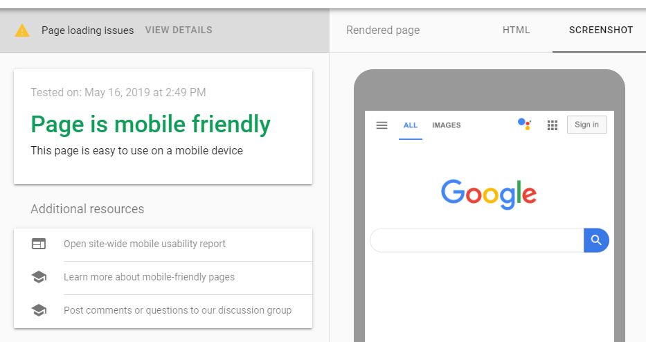 Results for a mobile-friendly website.
