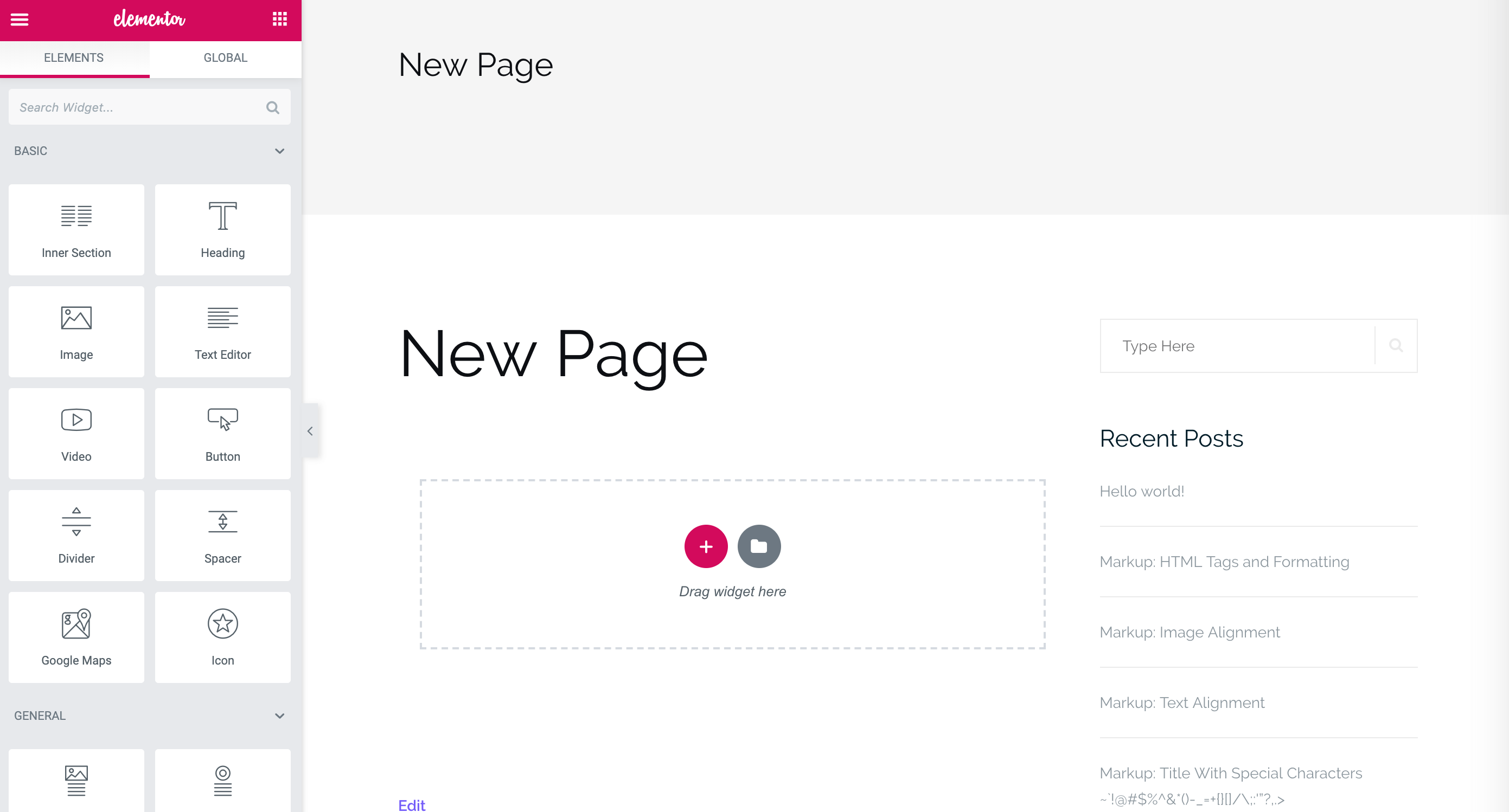Creating a new page in Elementor.