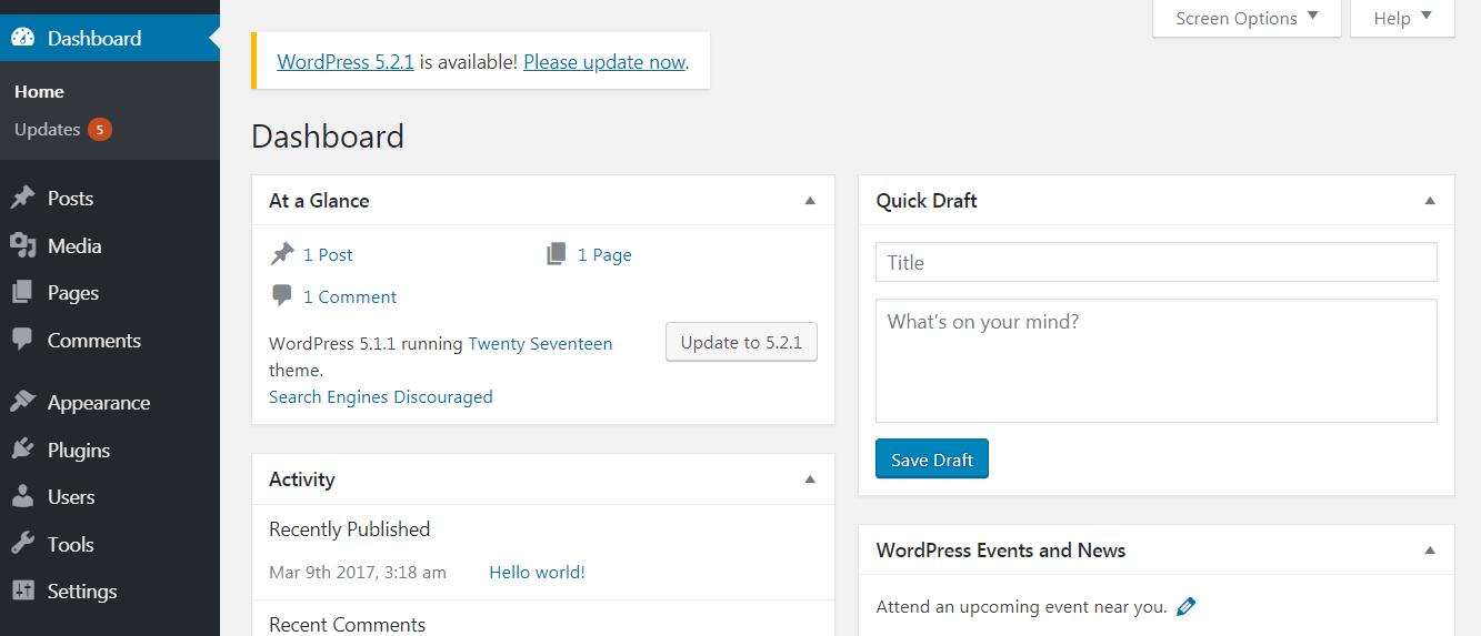 A WordPress update notification.