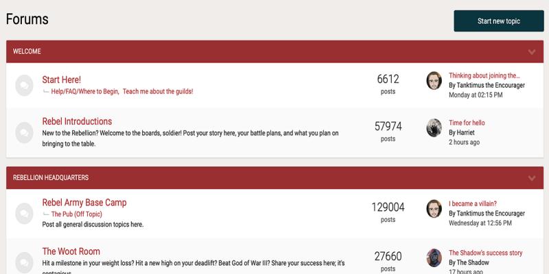 The nerdfitness.com forum.