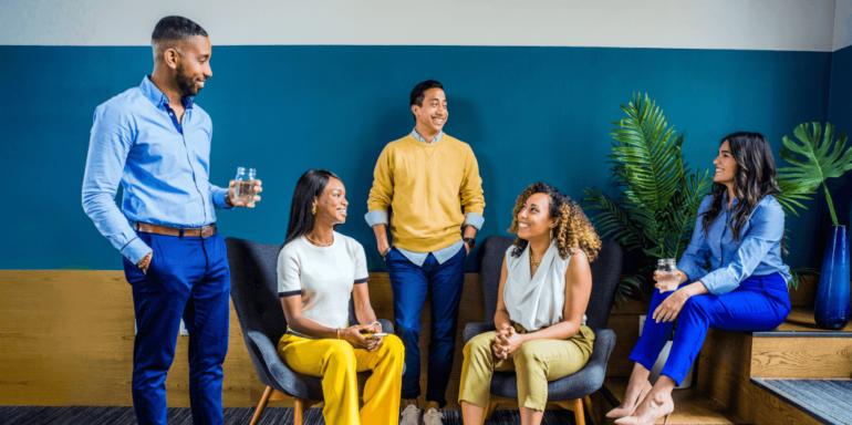 A group having a conversation.