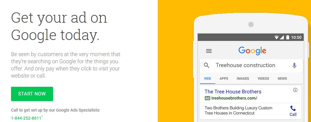 The Google Ads website.