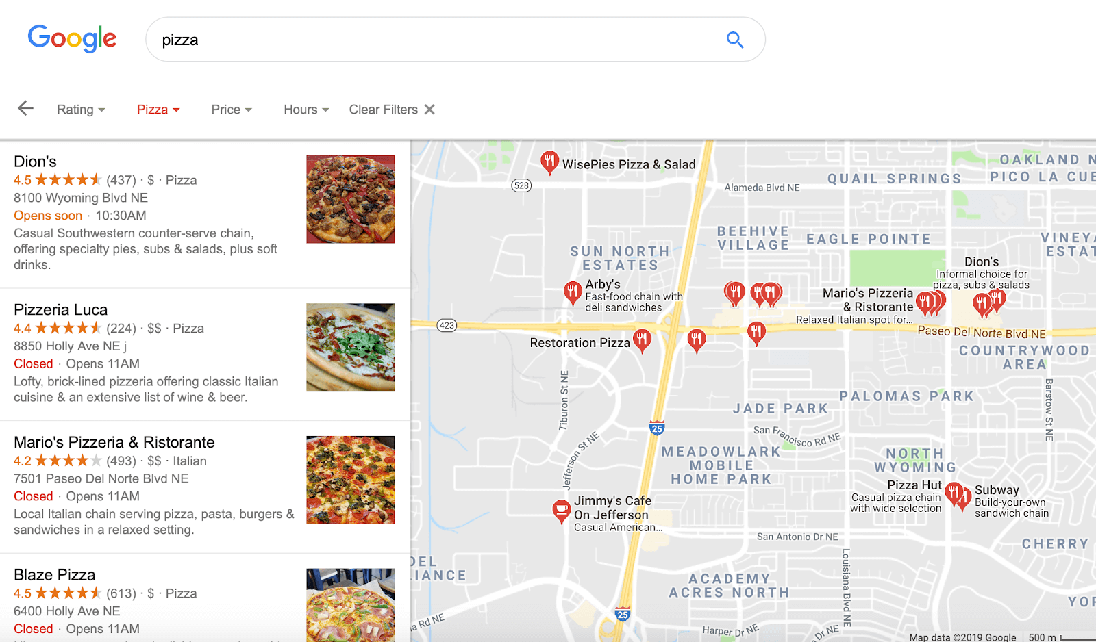 Several businesses listed in Google.