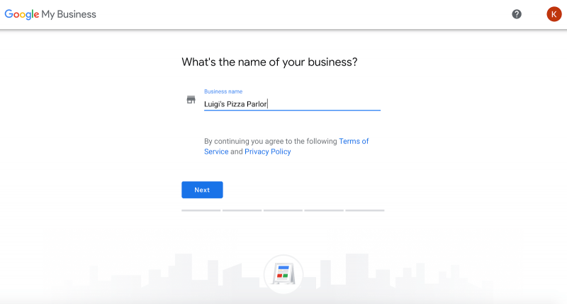 Creating a Google My Business profile.