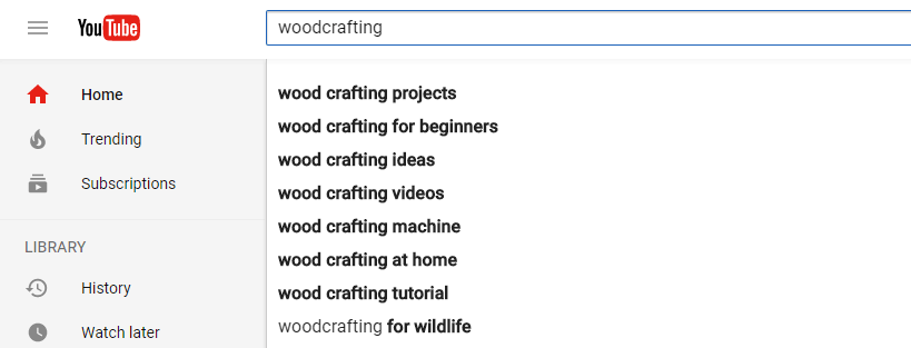 Searching for keywords on YouTube.