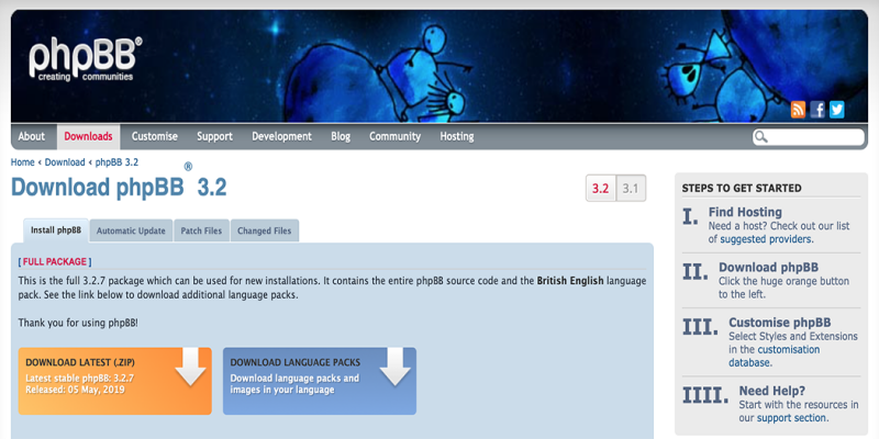 The phpBB download page