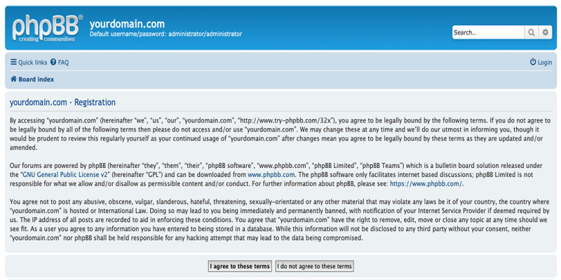 Agree to the terms of your new phpBB forum tool.