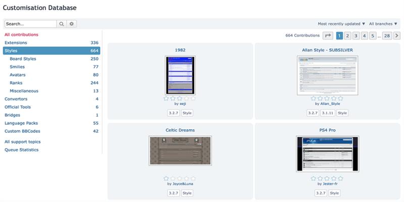 The phpBB style database