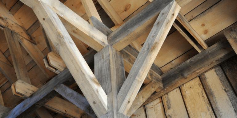 Wooden beams in a building.