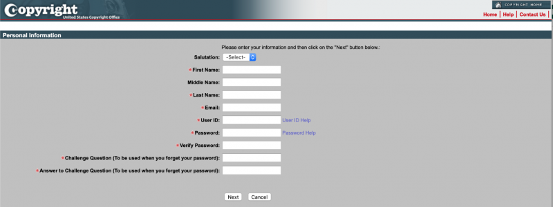 The Personal Information screen.