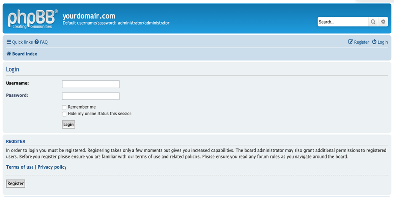 Logging in to phpBB.
