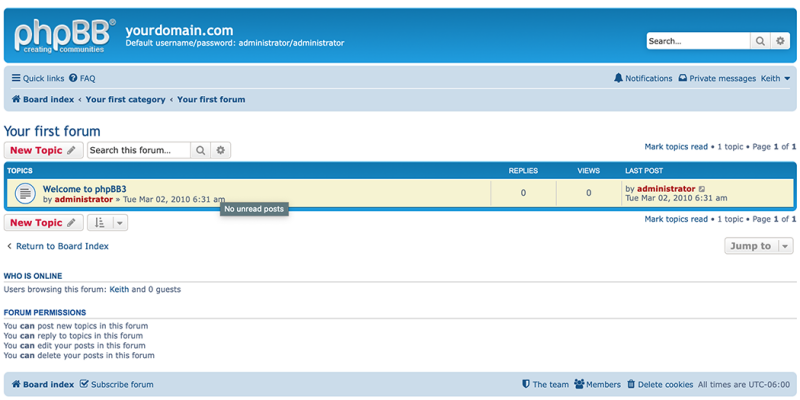 Create a new topic in phpBB.