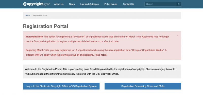 The Copyright Registration Portal.