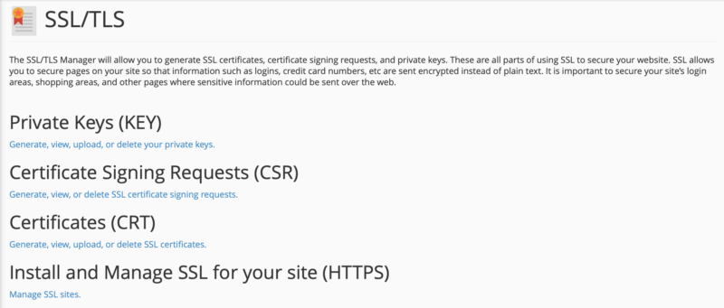 The SSL/TLS option in cPanel.